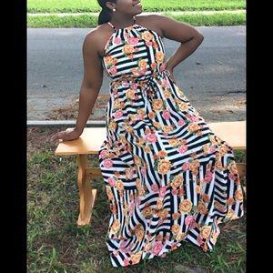 Striped/Floral Maxi Dress